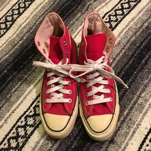 Red Converse All Stars High Top Sneakers.  Men's 6